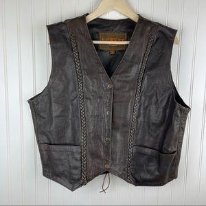 Unik Vintage Brown Braided Leather Motorcycle Vest